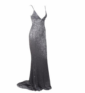 BETTINA | Long Backless Grey Sequin Evening Dress - All Products Envious Bridal