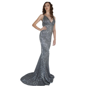 Long Backless Grey Sequin Formal Dresses Envious Bridal & Formal