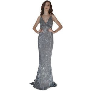 Long Backless Grey Sequin Evening Dresses Perth Envious Bridal & Formal