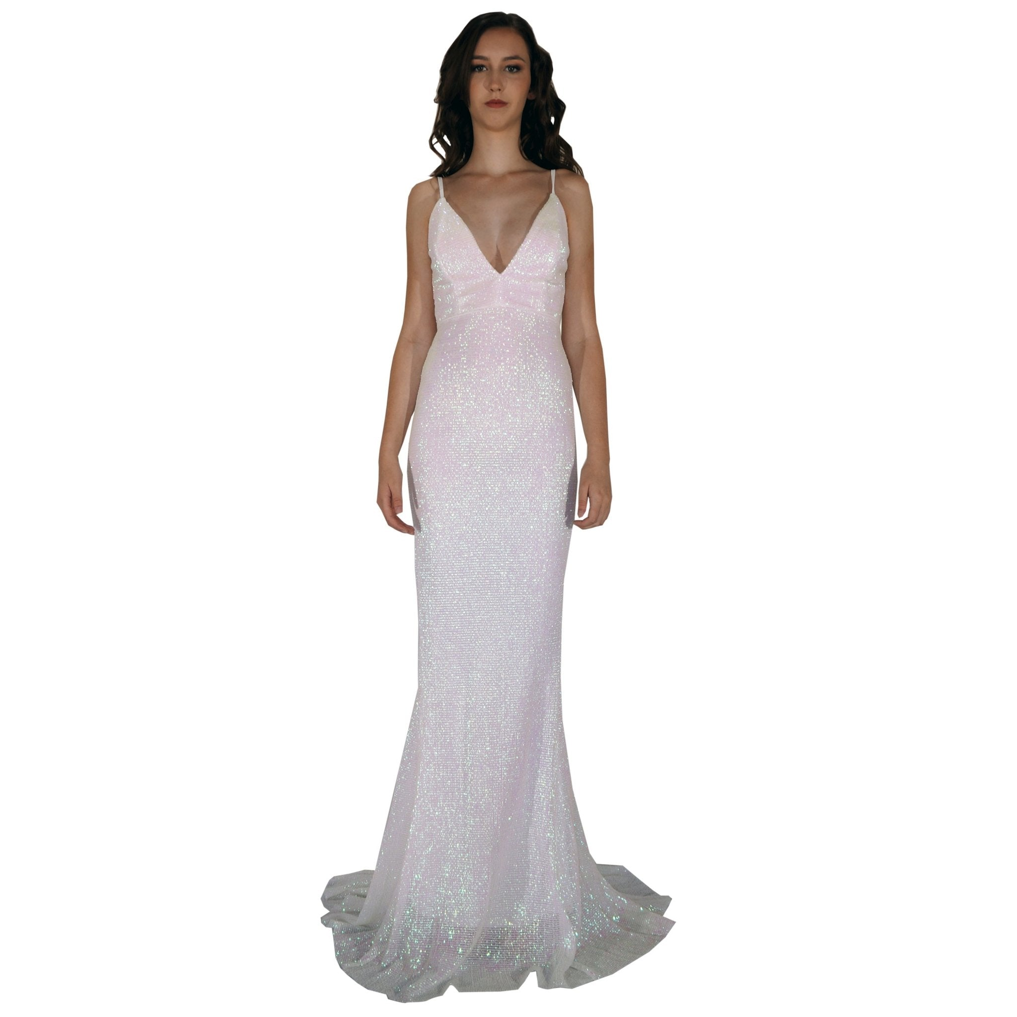 Long Backless Pearlescent White Sequin Evening Dresses Envious Bridal & Formal