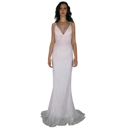 BETTINA | Long Backless Pearlescent White Sequin Evening Dress - All Products Envious Bridal