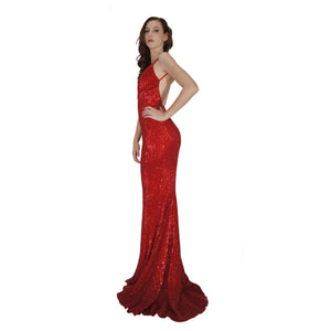 BETTINA | Long Backless Red Sequin Evening Dress - All Products Envious Bridal