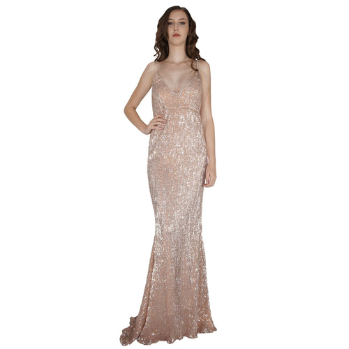 BETTINA | Long Backless Rose Gold Sequin Evening Dress - All Products Envious Bridal