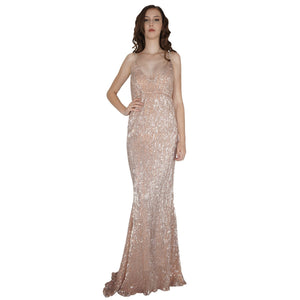 Long Backless Rose Gold Sequin Evening Dresses Envious Bridal & Formal