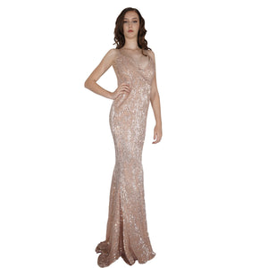 Long Backless Rose Gold Sequin Formal Dresses Perth Envious Bridal & Formal