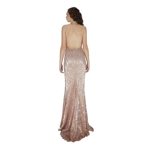 Long Backless Rose Gold Sequin Formal Evening Dresses Perth Envious Bridal & Formal