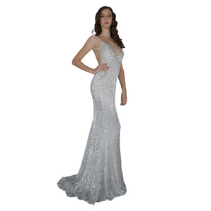 Long Backless Silver Sequin Formal Dresses Perth Envious Bridal & Formal