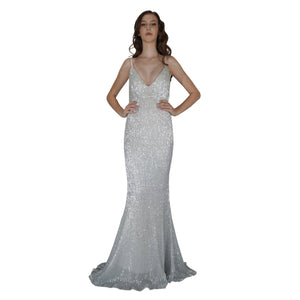 BETTINA | Long Backless Silver Sequin Evening Dress - All Products Envious Bridal