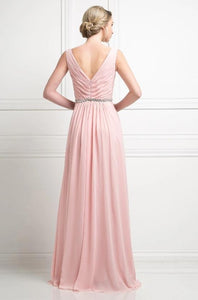 BRIELLE | Blush Sleeveless Chiffon A Line Bridesmaid Dress - All Products Envious Bridal