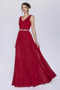 BRIELLE | Burgundy Sleeveless Chiffon A Line Bridesmaid Dress - All Products Envious Bridal