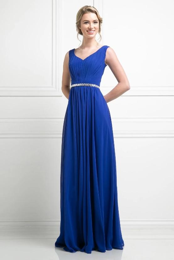 BRIELLE | Cobalt Sleeveless Chiffon A Line Bridesmaid Dress - All Products Envious Bridal