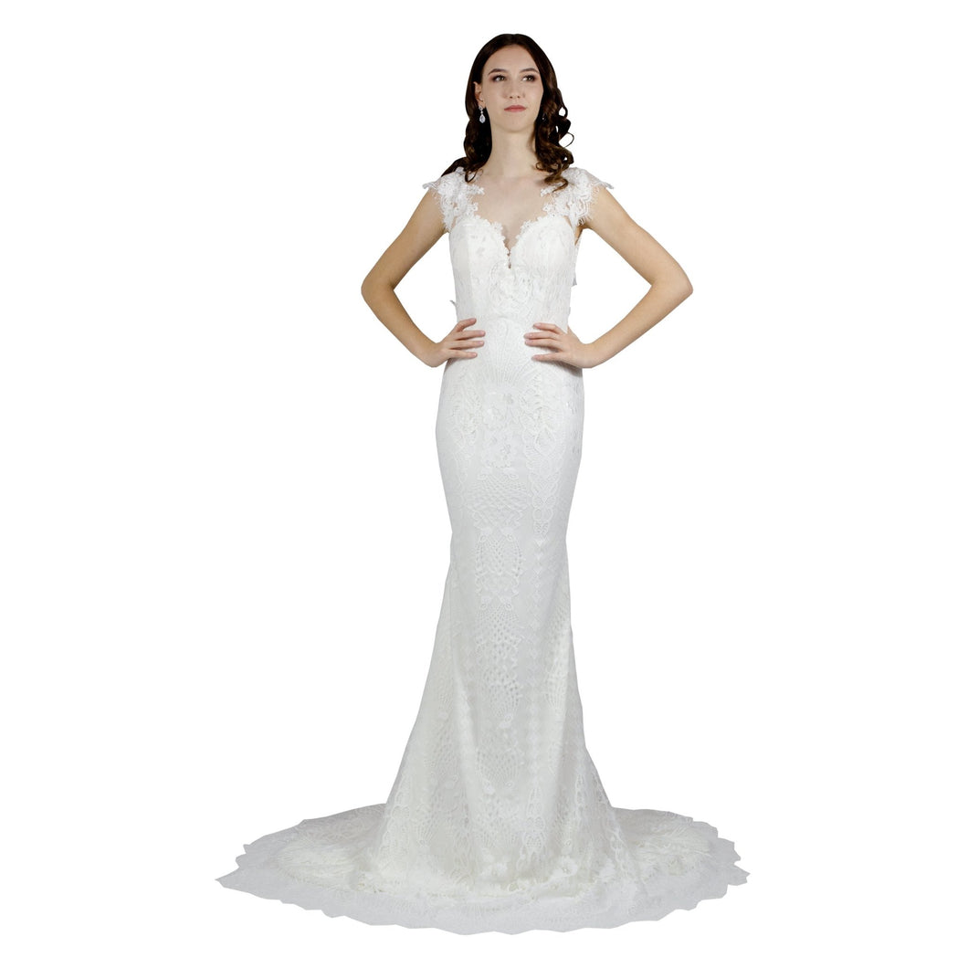 Cap Sleeve Lace Mermaid Wedding Dress Envious Bridal & Formal
