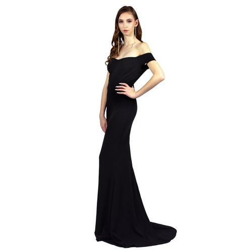 Off The Shoulder Fitted Black Formal Dress - Formal Dresses Envious Bridal & Formal