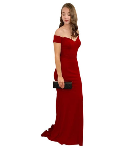 CHERISE | Off The Shoulder Fitted Red Formal Dress - Formal Dresses Envious Bridal & Formal