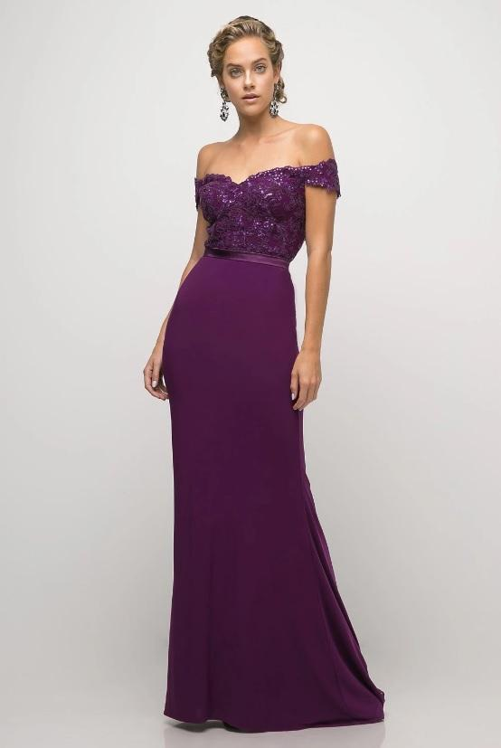 CYNTHIA | Off Shoulder Beaded Bodice Formal Dress - Formal Dresses Envious Bridal & Formal