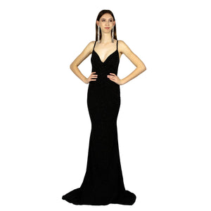 DAMARIS | Black Glitter Look Evening Dress - All Products Envious Bridal