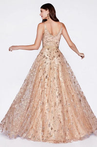 DHARA | A Line Glitter Rose Gold Formal Gown - All Products Envious Bridal