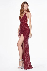 ELAYA | Burgundy Cross Back Sequin Evening Gown - All Products Envious Bridal