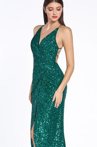 ELAYA | Emerald Green Cross Back Sequin Evening Gown - All Products Envious Bridal
