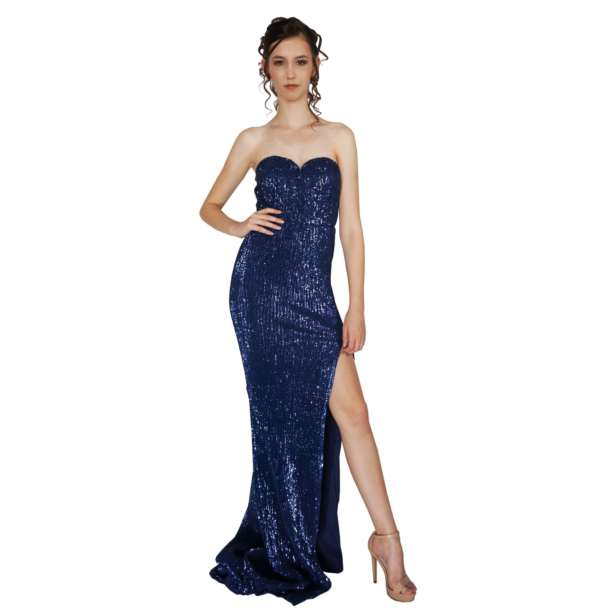 ESTELLE | Strapless Blue Sequin Evening Dress - All Products Envious Bridal