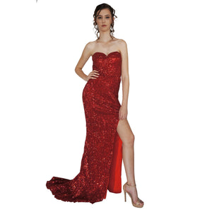 ESTELLE | Strapless Red Sequin Evening Dress - All Products Envious Bridal