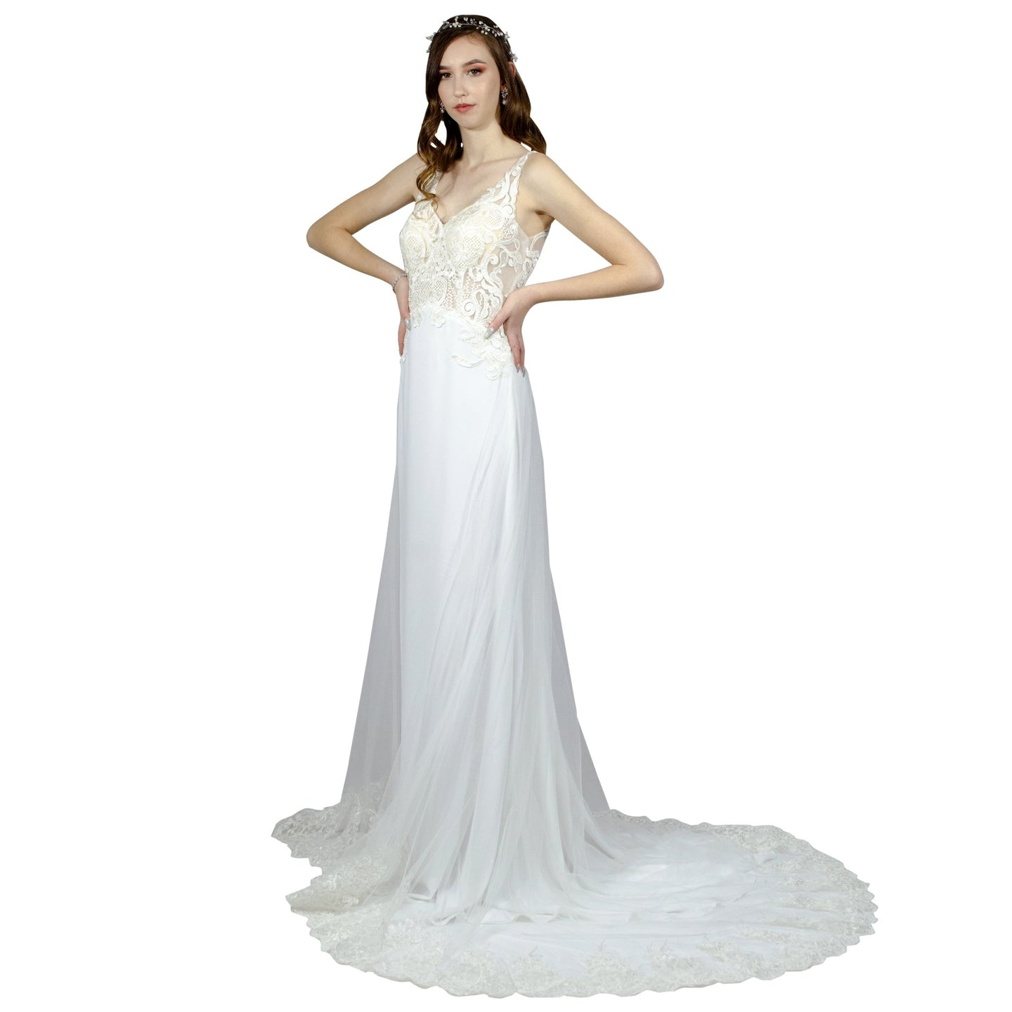 Lace Bodice Sheath Silk Crepe Wedding Dress Envious Bridal & Formal Perth Australia