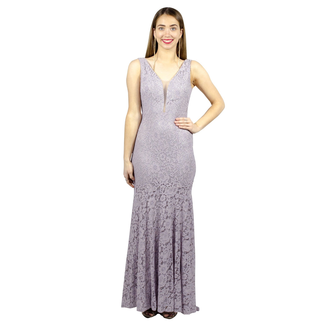 EUGINA | V Neck Grey Lace Evening Dress - All Products Envious Bridal