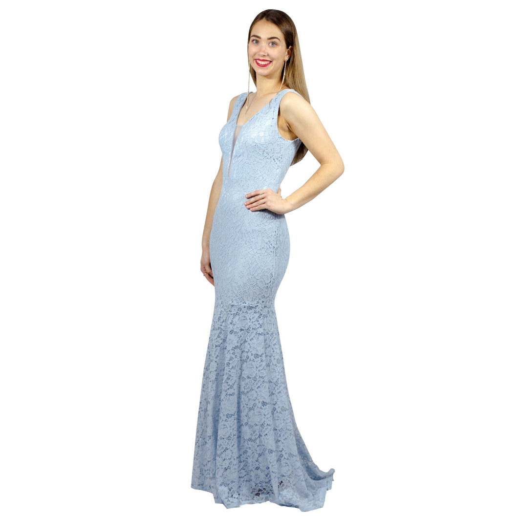 EUGINA | V Neck Powder Blue Lace Evening Dress - All Products Envious Bridal