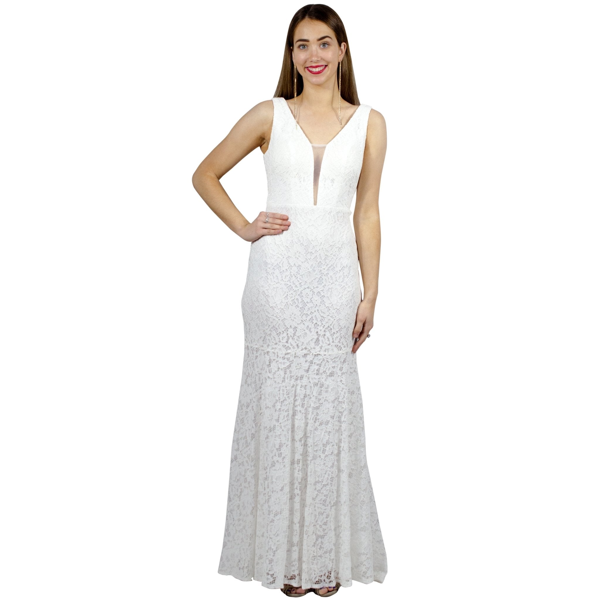 EUGINA | V Neck White Lace Evening Dress - All Products Envious Bridal