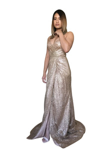 EVALINA | Wrap Look Gold Glitter Evening Dress - All Products Envious Bridal
