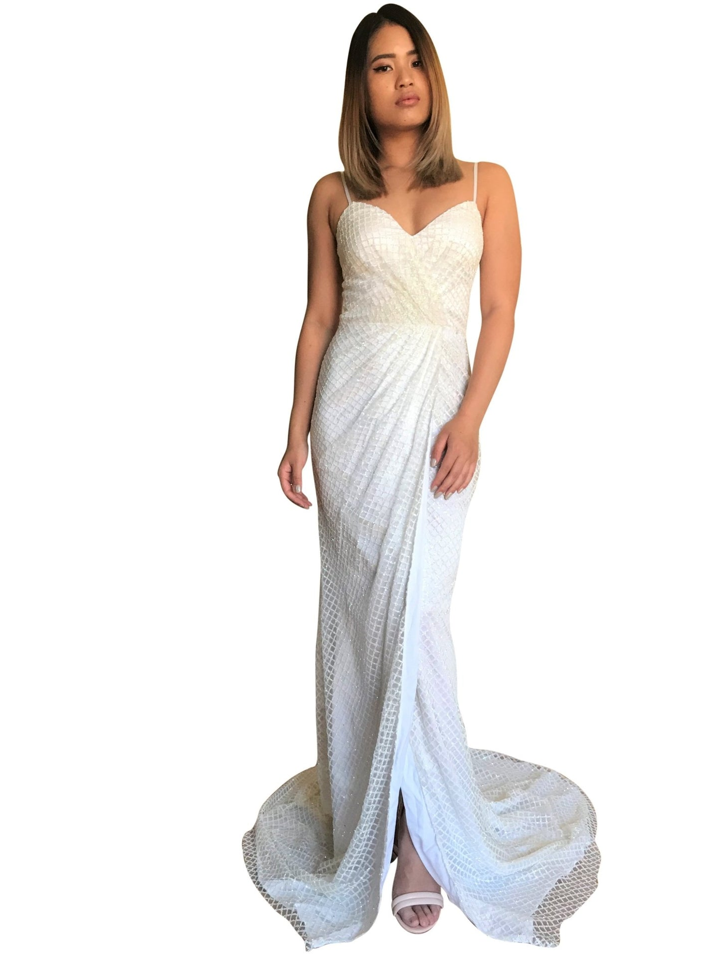 EVALINA | Wrap Look White Glitter Evening Dress - All Products Envious Bridal