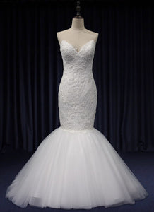 EVALYN | Strapless Lace Bodice Fishtail Wedding Gown - Wedding Dress Envious Bridal & Formal