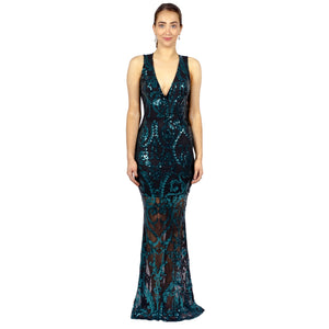 Emerald Sequin Backless Evening Gown Envious Bridal & Formal