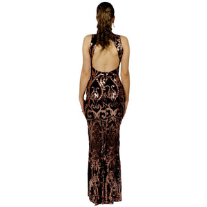 Rose Gold Sequin Backless Formal Gowns Perth Australia Envious Bridal & Formal