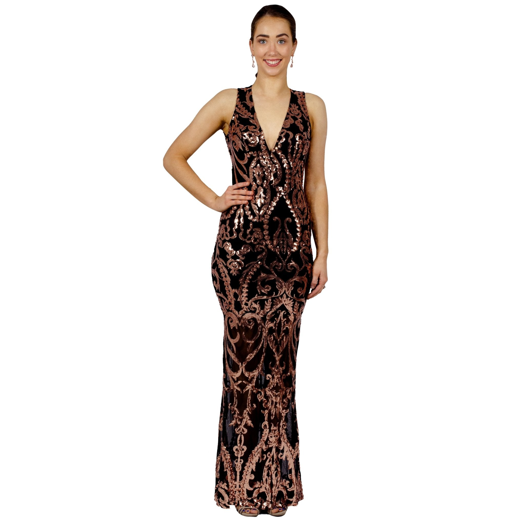 Rose Gold Sequin Backless Evening Gowns Perth Envious Bridal & Formal