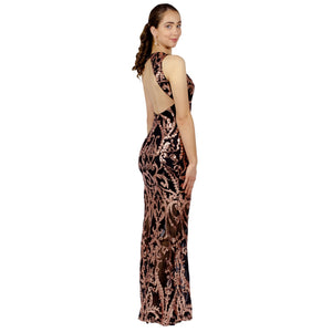 Rose Gold Sequin Backless Ball Dresses Gowns Perth Australia Envious Bridal & Formal