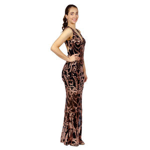 Rose Gold Sequin Backless Evening Dresses Gowns Perth Envious Bridal & Formal