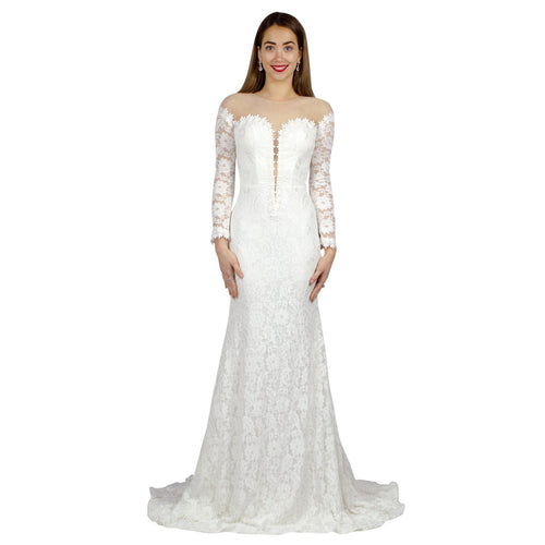Long Sleeve Mermaid Lace Wedding Dress Perth WA Envious Bridal & Formal