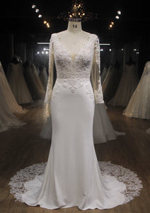 HENRIETTA | Illusion Long Sleeve Lace & Crepe Wedding Dress - Wedding Dress Envious Bridal & Formal