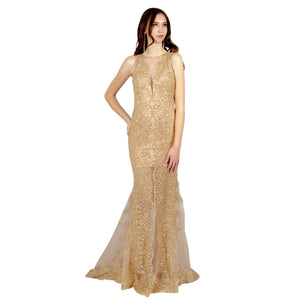 ILLUSIONS | Sheer Glitter Gold Formal Gown - All Products Envious Bridal
