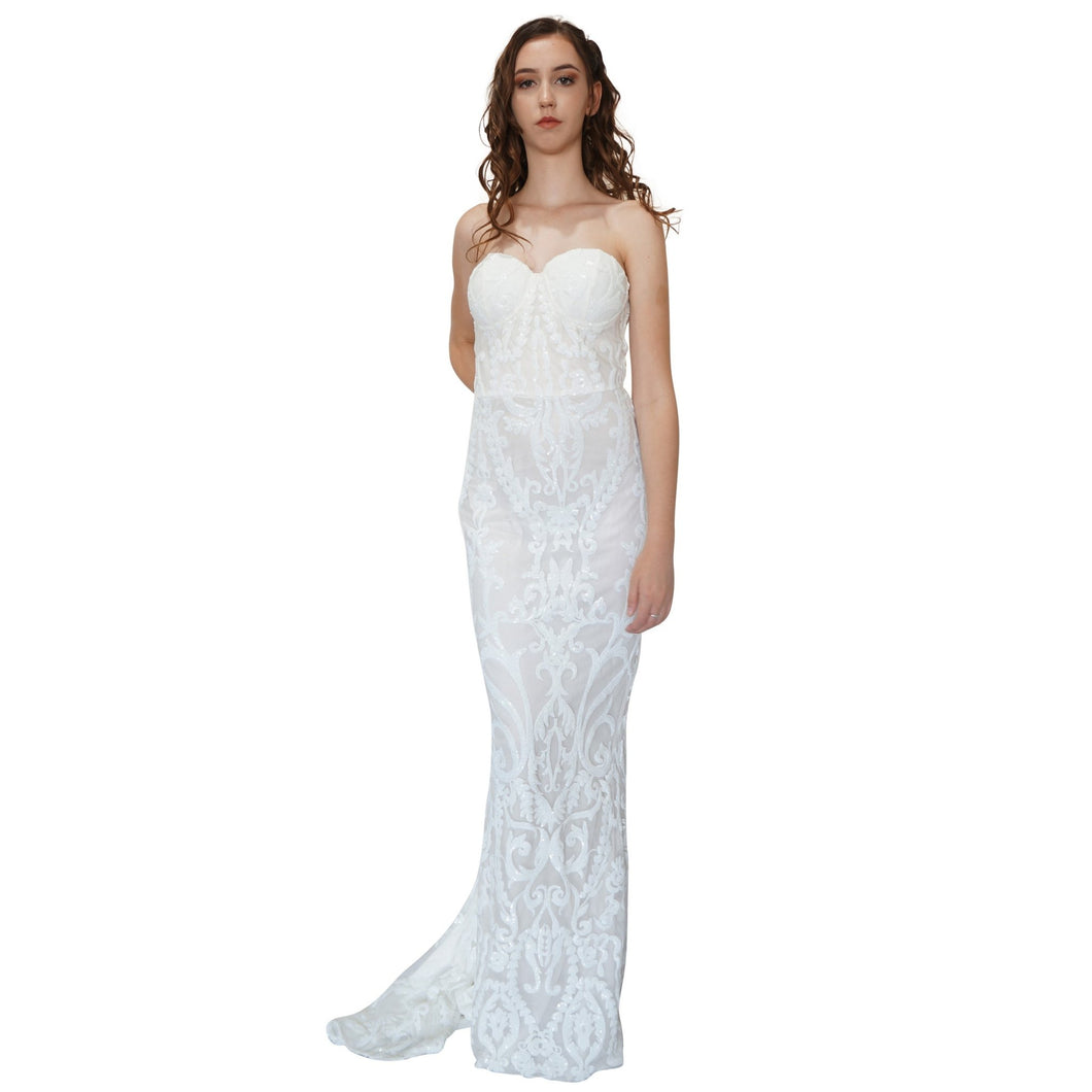 JANESSA | Strapless Sequin White Formal Dress - All Products Envious Bridal