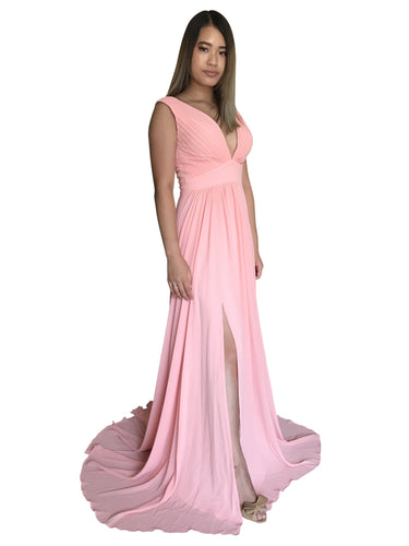 KEANNA | Pink Chiffon Empire Formal Dress - Formal Dresses Envious Bridal & Formal
