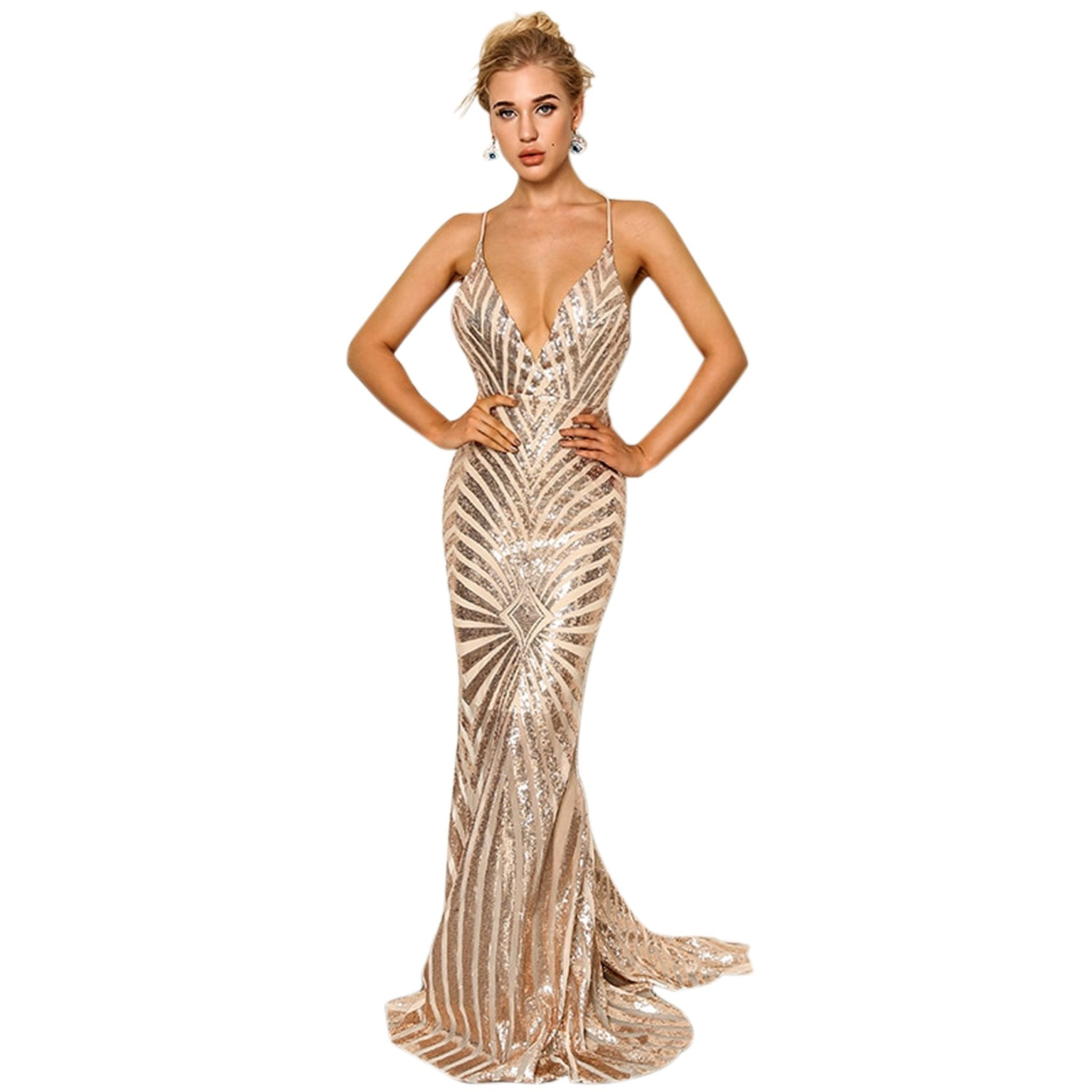 KERENZA | Rose Gold Sequin Evening Dress - Formal Dresses Envious Bridal & Formal