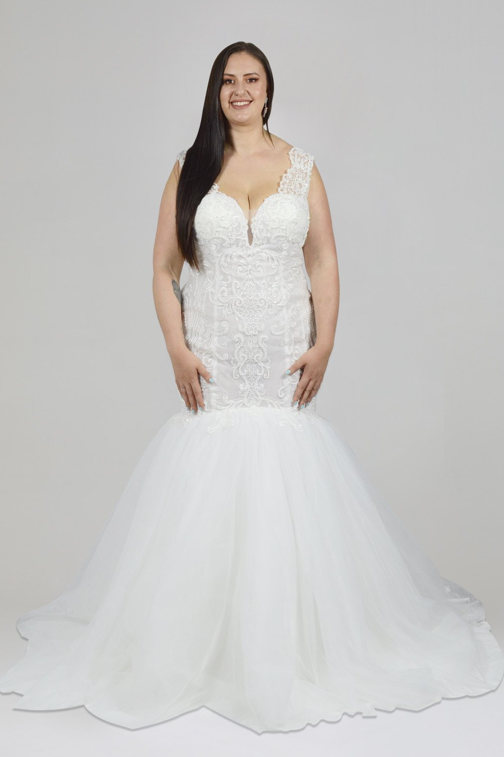 LILIANNA | Lace Bodice Fit & Flare Plus Size Wedding Dress - Wedding Dress Envious Bridal & Formal