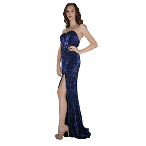 LUCIANNA | Strapless Long Blue Sequin Formal Dress - All Products Envious Bridal