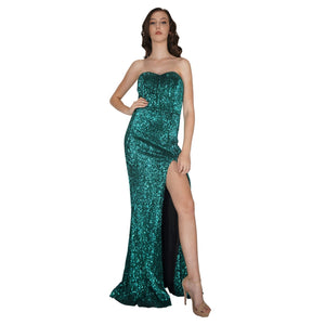 LUCIANNA | Strapless Long Green Sequin Formal Dress - All Products Envious Bridal