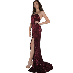 LUCIANNA | Strapless Long Wine Sequin Formal Dress - All Products Envious Bridal
