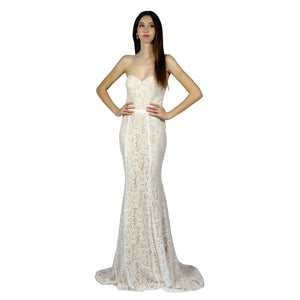 Strapless Sweetheart Lace Ivory Evening Dress Envious Bridal & Formal