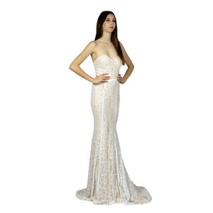 Strapless Sweetheart Lace Ivory Evening Dresses Envious Bridal & Formal Perth