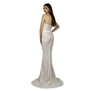 Strapless Lace Ivory Evening Dress Envious Bridal & Formal Perth Australia